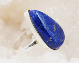 Freeform Deep Blue Lapis Lazuli in silver ring AM 120
