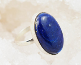 Oval Deep Blue Lapis Lazuli in silver ring AM 1211