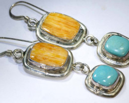 37 CTS CORAL TURQUOISE EARRING  TBJ-6