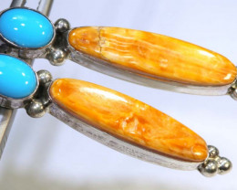 28.5 CTS CORAL TURQUOISE EARRING  TBJ-9