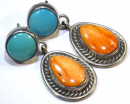 36 CTS  CORAL TURQUOISE EARRING TBJ-10