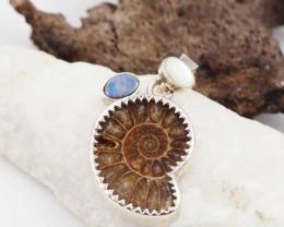 Natural Ammonite,opal n pearl pendant AM 1212
