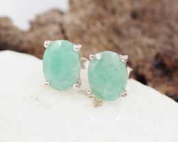 Natural jade  Silver Earrings  AM 1222