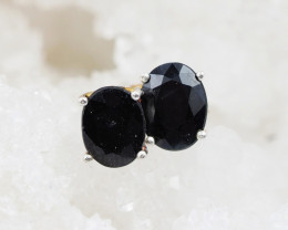 Black  Faceted Onyx Silver earrings AM 1230