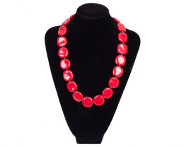 SPECTACULAR BRIGHT RED CLAY NECKLACE