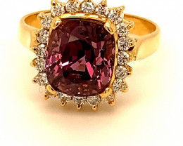 Pink Purple Spinel 5.64ct Diamonds Solid 18K Yellow Gold Cocktail Ring,Cert