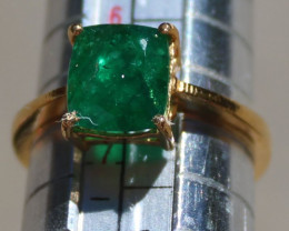Emerald 2.48ct Solid 22K Yellow Gold Solitaire Ring,Certified,Appraised,Bra