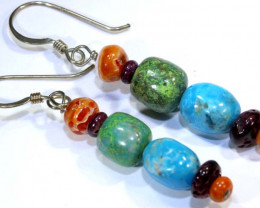 22.5 CTS CORAL TURQUOISE  EARRING TBJ-30