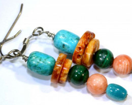 21 CTS CORAL TURQUOISE  EARRING TBJ-29