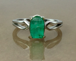 Emerald from Afghanistan white Rhodium 925 Sterling silver ring