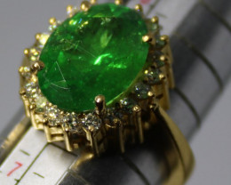 Tsavorite Garnet 6.08ct Diamonds Solid 22K Yellow Gold Cocktail Ring,Certif