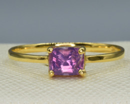 Natural Kashmir Sapphire and Gold Ring
