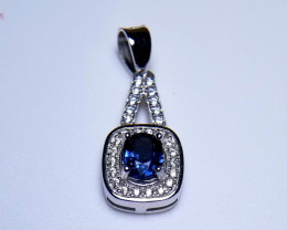 Natural Heated Sapphire Eiffel Tower Silver Pendant With Cubic Zircons