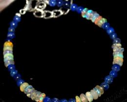 21 Crt Natural Welo Opal & Lapis Lazuli Beads Bracelet 434