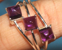 Natural Amethyst 925 Sterling Silver Ring Size (US 8.5) 84