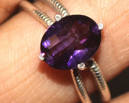 Natural Amethyst 925 Sterling Silver Ring Size (US 8.5) 89