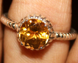 Natural Citrine 925 Sterling Silver Ring Size (US 6.5) 91