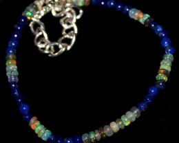 19 Crt Natural Welo Opal & Lapis Lazuli Balls Bracelet 421