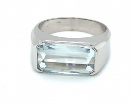 Aquamarine 5.00ct Solid 18K White Gold Solitaire Ring,Certified Appraised,B
