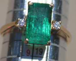 Emerald 3.85ct Diamonds Solid 18K Yellow Gold Ring,Certified,Appraised,Bran