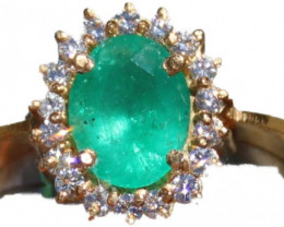 Tanzanian Emerald 2.15ct Diamonds Solid 22K Yellow Gold Cocktail Ring,Certi