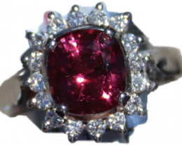 Red Pinkish Mahenge Spinel 4.28ct,Natural Diamonds,Solid 18K White Gold Coc