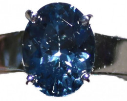 Tunduru Blue Spinel 2.15ct 18K Solid White Gold Ring, Certified,Appraised,B