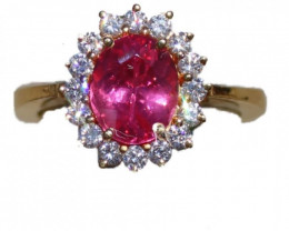 Mahenge Spinel 2.05ct Diamonds Solid 22K Yellow Gold Cocktail Ring,Certifie