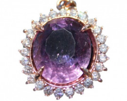 Amethyst 10.15ct, Solid 925 Sterling Silver, White Gold Finish Pendant, Nat