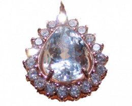 Blue Kunzite 4.20ct Rose Gold Pendant,Natural,Untreated,Pear,Brand New