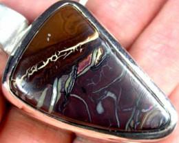 Australian Large Boulder opal in silver pendant L2533