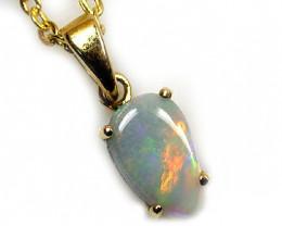 Australian black crystal opal in 18k gold pendant SCO 416
