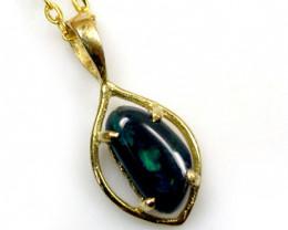 Australian black opal in 18K gold pendant SCO 422