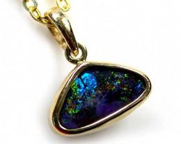 Australian Boulder opal in 18k Gold Pendant SCO 471