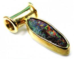 Australian Black opal in 18k Gold Pendant SCO 476
