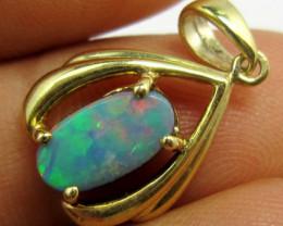 Australian Doublet  opal in gold plated Silver  Pendant pl710