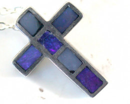 Australian Doublet  opal in Silver   Cross Pendant SCO 1816