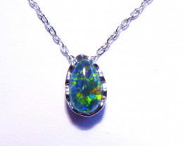 Beautiful Australian Gem Grade Triplet Opal and Sterling Silver Pendant