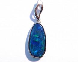 Pretty Australian Gem Grade Doublet Opal and Sterling Silver Pendant