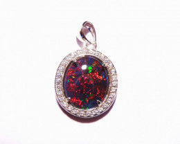 Stunning Australian Gem Grade Triplet Opal and Sterling Silver Pendant
