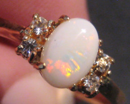 Stunning Australian Solid Opal and Gold Gilt Ring  Size O or 7