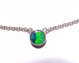 Unique Australian Gem Grade Doublet Opal and Sterling Silver Pendant