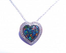Australian Triplet Opal, CZ and Sterling Silver Heart Pendant