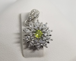 Natural Green Peridot Silver Pendant With Cubic Zircons