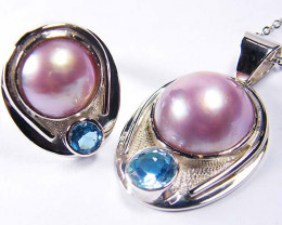 Pink Pearl and Blue Topaz Penant and Silver Ring size 8 GRR188