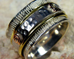 COPPER BRASS HAND ETCHED SILVER RING SIZE 8.5 GTJA662