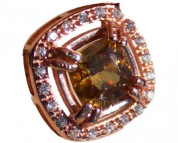 Sphene 1.55ct, Rose Gold Pendant, Natural, Untreated, Cushion, VVS Clarity,