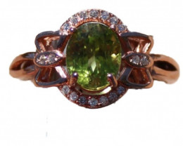 Peridot 1.40ct, Rose Gold Ring, Natural, Untreated, Oval, VVS Clarity, Bran