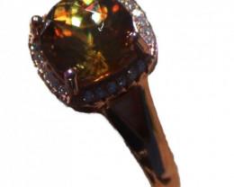 Sphene 3.00ct Rose Gold Ring,Natural,Resizable,Brand New