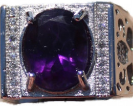 Amethyst 3.30ct White Gold Ring, Natural, Untreated, Oval, Sourced Zambia,